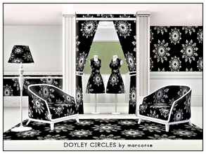 Sims 3 — Doyley Circles_marcorse by marcorse — Geometric pattern: circular lace doyley design in black and white.