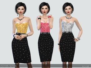 Sims 4 — GlitterXmas by Paogae — Nice dress with glittering bodice, in three Christmas colors, black skirt with