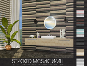 Sims 4 — Stacked Mosaic Wall by Rirann — Stacked Mosaic Wall in 7 color variations. Multiple tile wallpaper. Works for