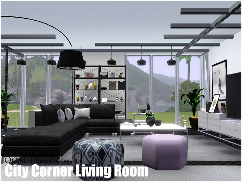 Qoact 39 s city corner living room for Living room ideas sims 3