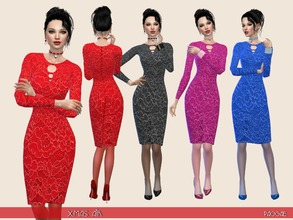 Sims 4 — Xmas Air by Paogae — A classic dress for Christmas time (and for any time), long sleeves, lace, shiny, in four