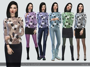 Sims 4 — FloralSweater by Paogae — Nice sweater with crochet floral embroideries in six colors, to be combined in many