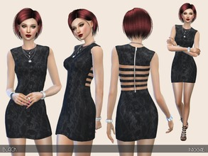 Sims 4 — Black by Paogae — A simple black little dress, round neck, zip and apertures on the back. Categories: everyday,