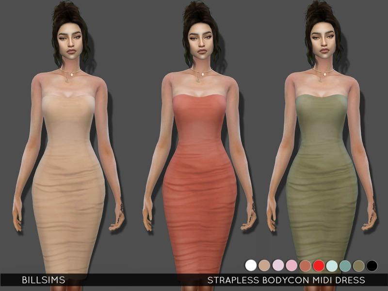 e72559e3e065 Bill Sims  Strapless Bodycon Midi Dress