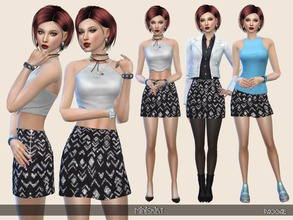 Sims 4 — Miniskirt by Paogae — Nice miniskirt, black and silver, modern pattern, zip on the side, glossy. Perfect for