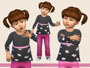 Sims 4 — PinkBees by Paogae — A warm sweater for our girls, long sleeves and funny pink bees! Categories: everyday,