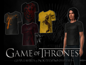 Sims 3 — Game of Thrones Distressed Houses T-Shirt 5 Pack by Downy Fresh — Features five different house animals from the