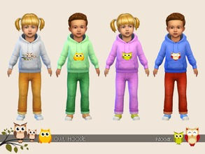 Sims 4 — Owl Hoodie by Paogae — Cute hoodie with funny owls, 12 colors, for male and female toddlers. Categories: