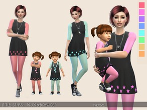Sims 4 — Little Stars - Mum&Baby Set by Paogae — Nice black dress with little stars, 8 colors, transparent leggings.