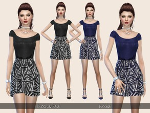 Sims 4 — Black&Blue by Paogae — Silk short dress in two colors, black and blue, solid color top, skirt with silver