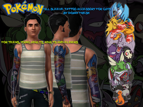 Sims 3 — Pokemon Tattoo Sleeve Accessory for Guys by Downy Fresh — Featuring the Gen 1 Legendary Birds Articuno, Moltres,