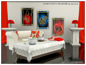 Sims 3 — Hearts for a Valentine_marcorse by marcorse — 3 Valentine's Day paintings featuring jewelled hearts. 1 file.