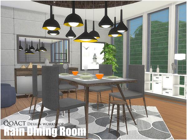 Qoact 39 s rain dining room for Dining room ideas sims 4