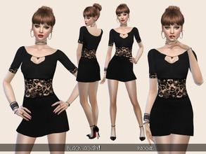 Sims 4 — Black again! by Paogae — Simple, elegant and sexy black minidress with transparent lace, perfect for parties or