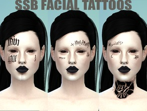 Sims 4 — HXC Facial Tattoos by SavageSimBaby — Able to mix and match with other tattoos, also works with facial masks.