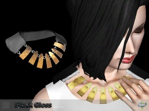 Sims 3 — Necklace black gloss by Shushilda2 — Elegant set on the basis of imitation leather and satin Necklace: - New