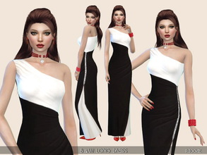 Sims 4 — B&W LongDress by Paogae — Elegant black and white long dress, one shoulder, embroidery on the side.