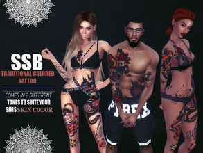 Sims 4 — SSB Traditional Colour Tattoo by SavageSimBaby — This comes in two tones, dark and bright. This allows you to