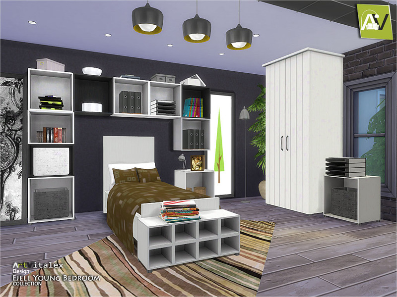 Artvitalex 39 s fjell young bedroom for Sims 4 bedroom ideas