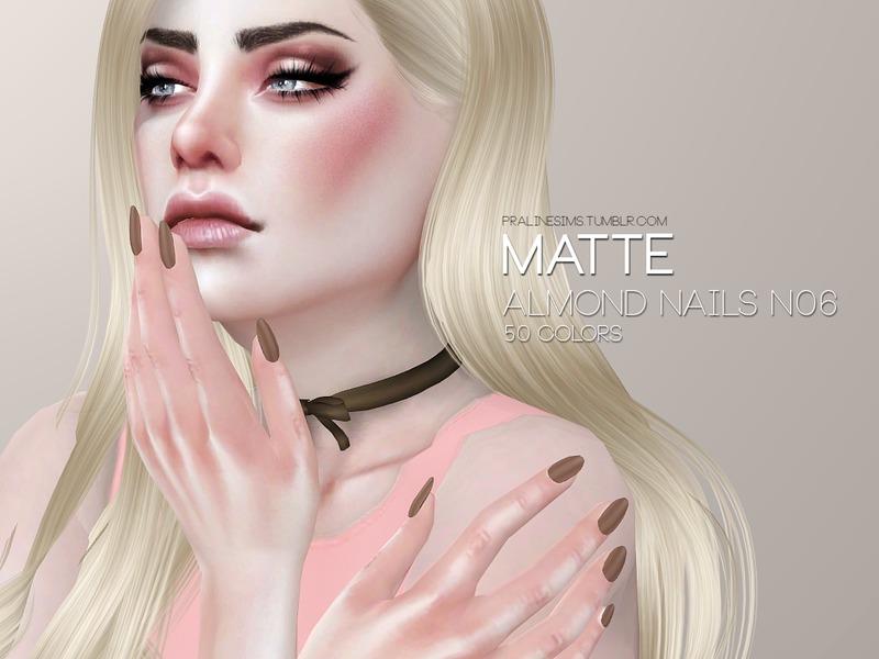 Pralinesims\' Matte Almond Nails N06