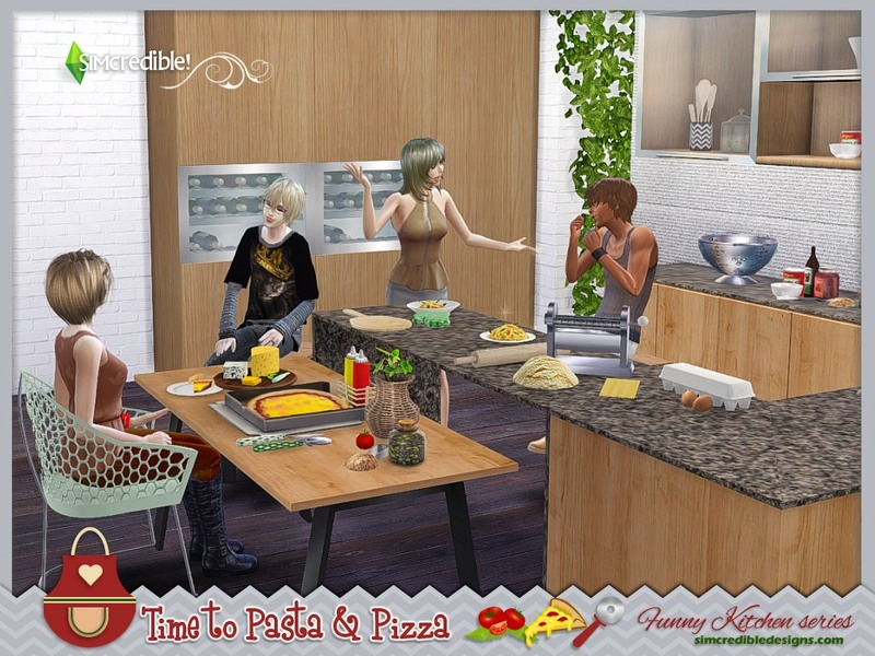 Simcredible 39 s funny kitchen series time to pasta and pizza for Funny kitchen set