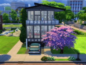 Sims 4 — Modern Open Concept NO CC by godkamia — One Sim use 3 story open-concept house with small pool, garage and