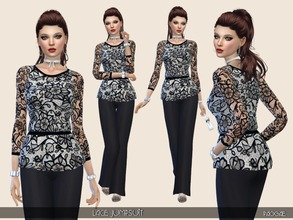 Sims 4 — LaceJumpsuit by Paogae — An elegant jumpsuit with lace blouse and black pants, to match with black and white or