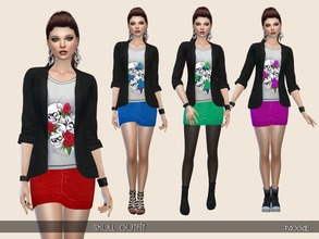 Sims 4 — Skull Outfit by Paogae — Black jacket, denim miniskirt and blouse with skulls for this nice and casual outfit in