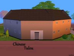 Sims 4 — Chinese Tulou NO CC BASEGAME by godkamia — Chinese Tulou inspired apartment building with 4 individual duplex