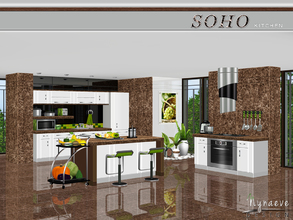 Sims 3 — Soho Kitchen by NynaeveDesign — Brighten your sim's kitchen with stainless steel accents and marble counter tops