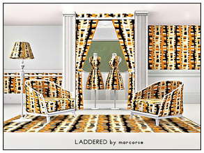 Sims 3 — Laddered_marcorse by marcorse — Geometric pattern: distorted ladder shapes in earth tones on black.