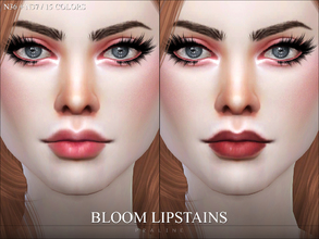 Sims 4 — Bloom Lipstains by Pralinesims — 2 lips in 15 colors.