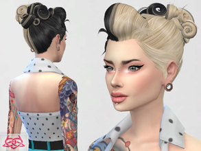 Sims 4 — Psychobilly Hair 2 by Colores_Urbanos — new meshes made by me -Need your game updated with the latest patch from