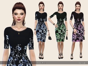 Sims 4 — Fleurs by Paogae — Classic nice dress, black background and floral pattern in three colors, short sleeves,