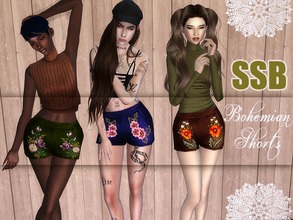 Sims 4 — SSB Bohemian Shorts by SavageSimBaby — Do you have fake festivals to go to? Do you smoke on the bubble too much
