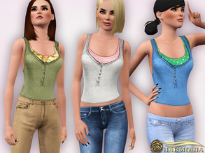 Sims 3 — Layered Cotton-blend Stretch Tank by Harmonia — 4 color. Recolorable