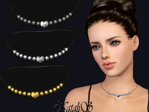 Sims 3 — NataliS TS3 Heart beaded necklace by Natalis — Romantic beaded necklace with heart charm. FT-FA-YA