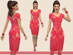 Sims 4 — RedDress by Paogae — Elegant dress, only in red color, with lace, short sleeves and v-neck. Categories: