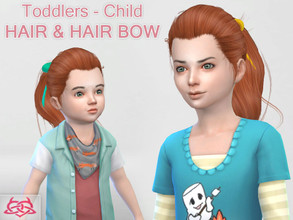 Sims 4 — Child & toddler Hair & Hair bow by Colores_Urbanos — my first hair for younger girls - Find the hair bow