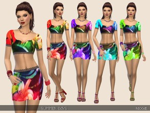 Sims 4 — SummerDays by Paogae — Top and mini-skirt with crochet edges, tropical pattern in four colors for your summer
