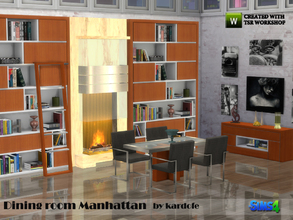 Sims 4 — kardofe_Dining room Manhattan by kardofe — Modern style dining room with fireplace, large library with
