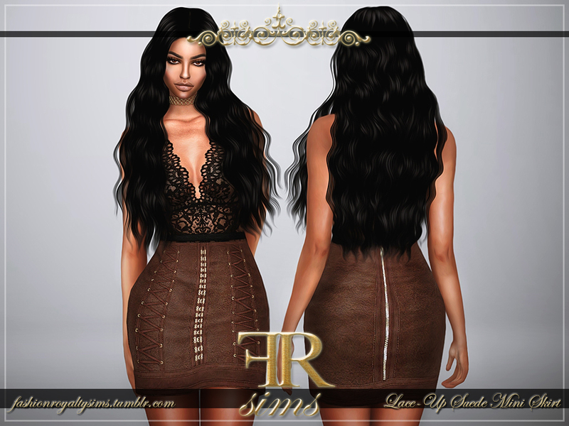 2838a67875 FashionRoyaltySims' Lace-Up Suede Mini Skirt