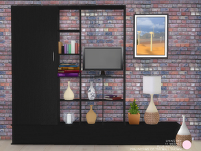 Sims 4 — Living Set by DOT — Living Set. Modern and Contemporary Vases and Lamps, plus a shelf unit that is double sided