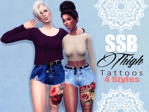 Sims 4 — SSB Feminine Thigh Tattoos by SavageSimBaby — Every girl needs a simple and sweet way of representing herself,