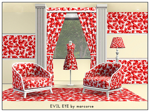 Sims 3 — Evil Eye_marcorse by marcorse — Geometric pattern: weird eye shapes in red black and white