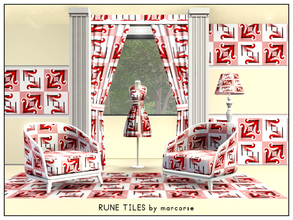 Sims 3 — Rune Tiles_marcorse by marcorse — Geometric pattern: simulated rune tiles in red, black and white.