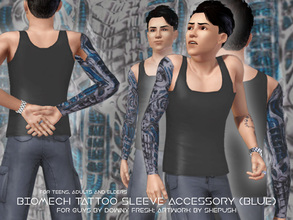 Sims 3 — Biomech [Blue] Tattoo Sleeve for Guys by Downy Fresh by Downy Fresh — A new tattoo sleeve for your sim guys! For