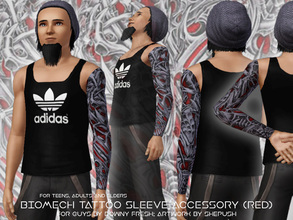 Sims 3 — Biomech [Red] Tattoo Sleeve for Guys by Downy Fresh by Downy Fresh — A new tattoo sleeve for your sim guys! For