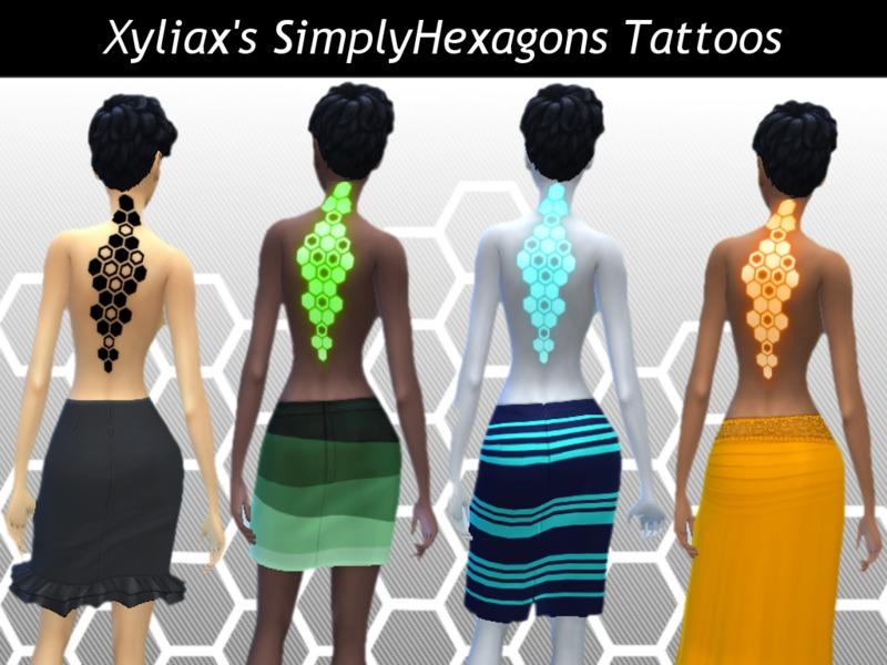 SimplyHexagons Upper Back Tattoo