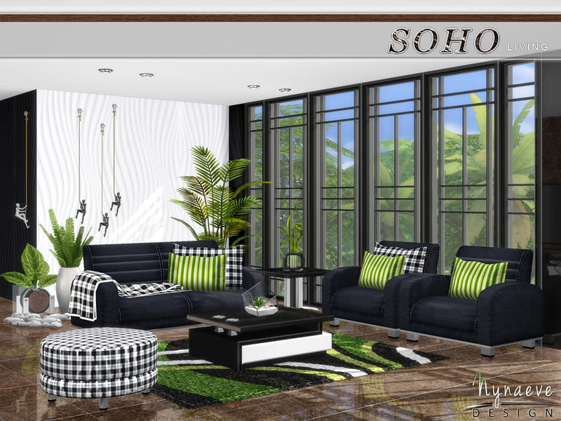 Nynaevedesign 39 s soho living room for Sims 4 living room ideas